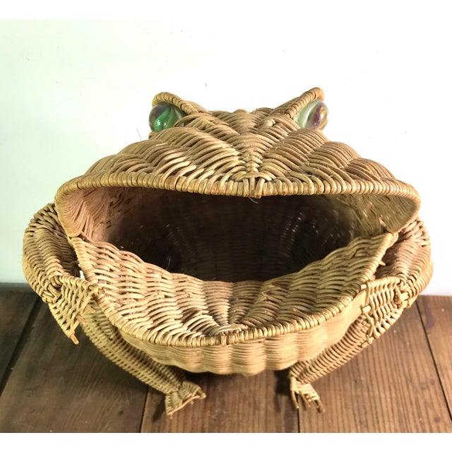 Mid-Century Modern 1970s Mid Century Wicker Frog Basket With Glass Marble Eyes For Sale - Image 3 of 9