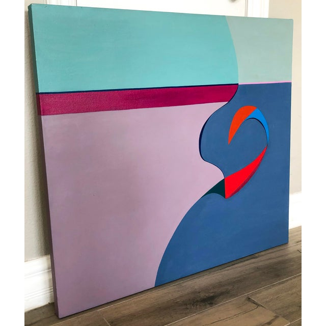 """A stunning painting by Ms. Zwickler, this 1982 painting titled """"No Man's Island"""", is very 1980's in styling and has an..."""