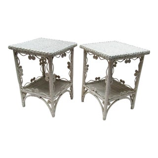 1940s French Country Ornate White Wicker Side Tables - a Pair For Sale