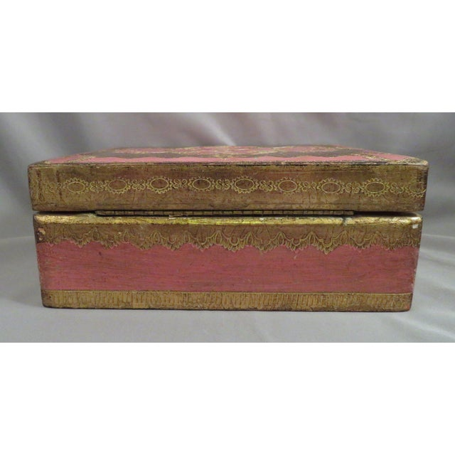 1940s Vintage Pink & Gold Florentine Wooden Box For Sale - Image 5 of 7