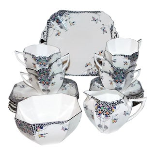 1930s Shelley China Queen Anne Luncheon Set - 21 Piece Set For Sale
