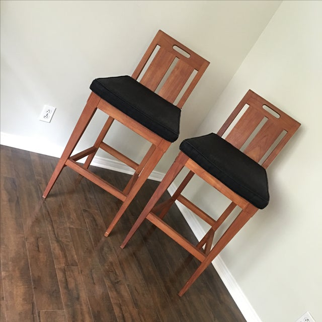 Sutherland Furniture by John Hutton for Ralph Lauren classic set of two bar chairs. Beautiful teak outdoor/indoor bar...