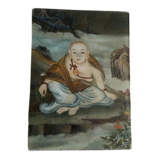 19th Century Glass Buddha Painting. For Sale