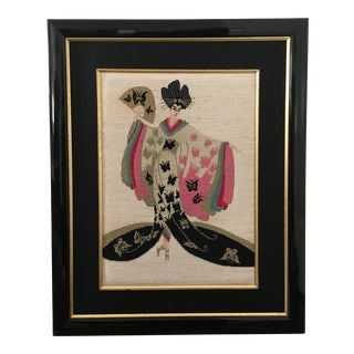 Art Deco Erte Madam Butterfly Framed Needlepoint For Sale