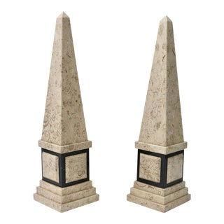 Tan & Black Marble Obelisk For Sale