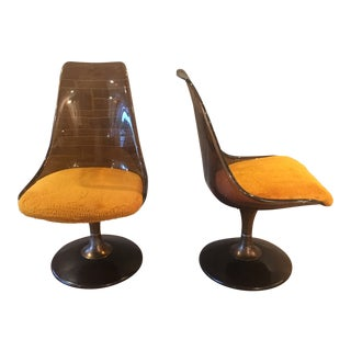 Mid Century Chromcraft Amber Lucite Chairs - a Pair
