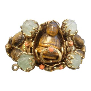 1950's Carved Tiger's Eye and Coral Buddha Bracelet For Sale