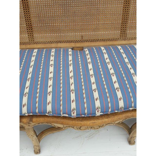 Brown Antique French Caned Three Seat Louis XV Style Settee French Provincial Long Caned Canape For Sale - Image 8 of 13
