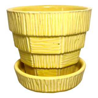"""McCoy Pottery 1940s - 1960s Small """"Yellow"""" Mid-Century Flowerpot and Saucer For Sale"""