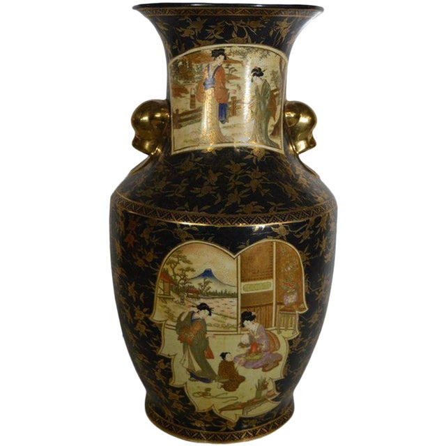 Vintage Hand-Painted Porcelain Vase with Gilded Accents from 20th Century, China For Sale