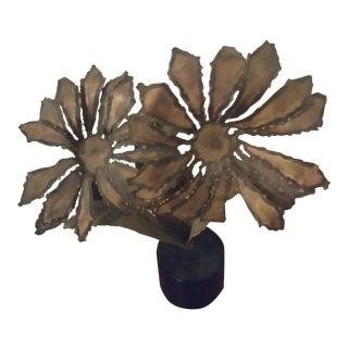 1960s Brutalist Curtis Jere Era Flower Copper Sculpture