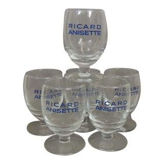 Vintage Ricard Anisette Patis Glasses Bistro Barware - Set of 6 For Sale