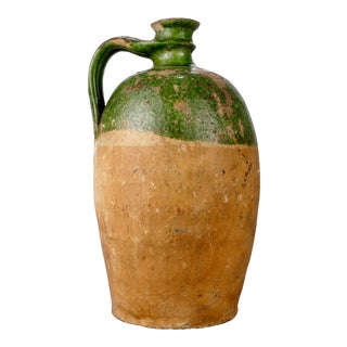Large French Terra Cotta and Green Glazed Jug