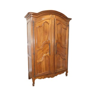 Antique 18th Century French Louis XV Walnut Monumental Armoire For Sale