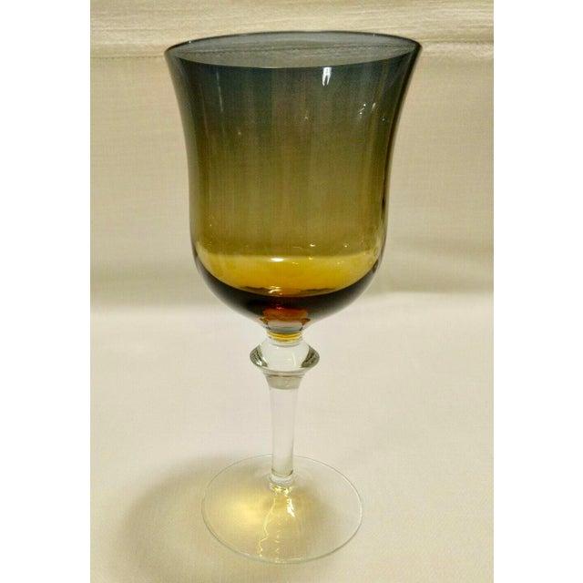 Denby Hand Blown Crystal Aurora Blue & Amber Ombre Glasses - Wine Glass Hand Blown Crystal Denby Aurora amber and blue...