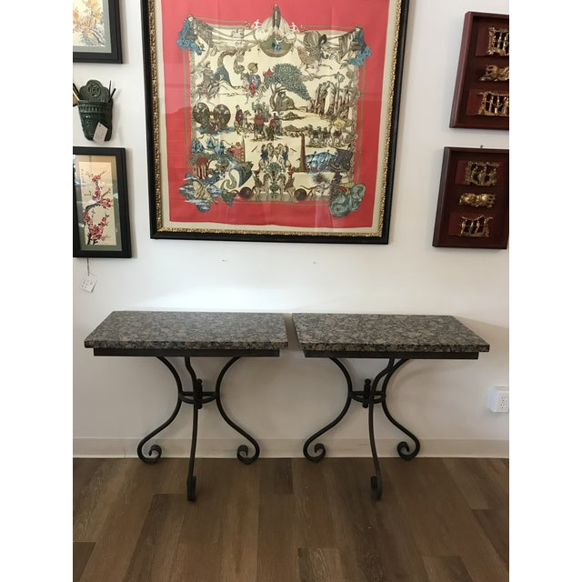 Vintage Granite Top Console Tables - a Pair For Sale In Kansas City - Image 6 of 6