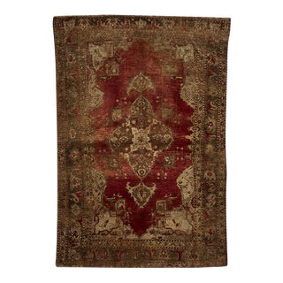 Red & Gold Turkish Karapinar Rug W/ Worn Medallion Circa 1920s