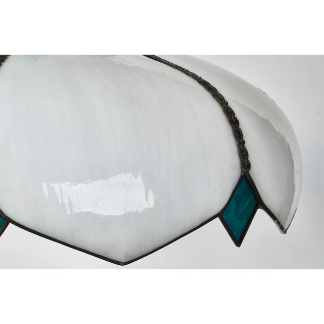 Mid-Century White Slag Glass Pendant Fixture For Sale In Los Angeles - Image 6 of 8