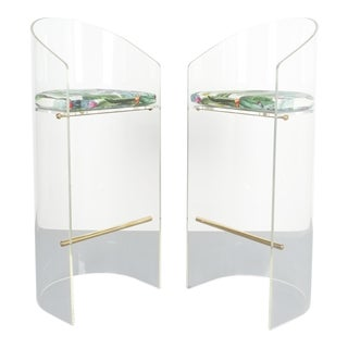 Pair of Lucite Brass Bar Stools Style Charles Hollis Jones, 1960 For Sale