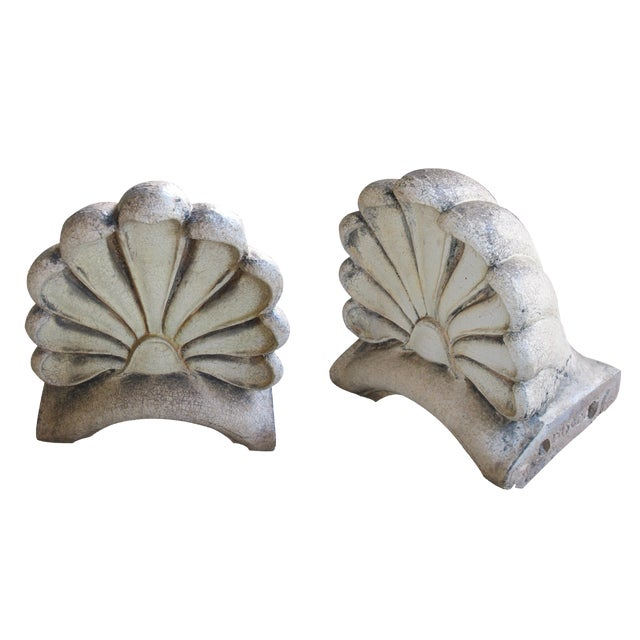 Impressive Pair of American Neoclassical Style Pottery Architectural Anthemions For Sale