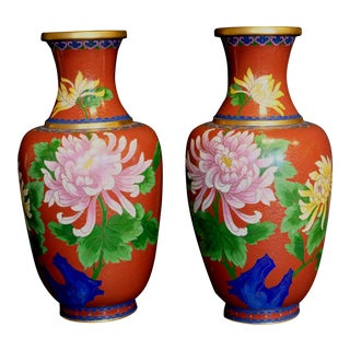 Large Chinese Bronze Cloisonne Enamel Vases - a Pair