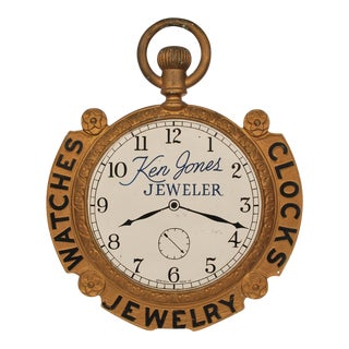 Jewelers Antique Pocket Watch Trade Sign – Double Sided For Sale