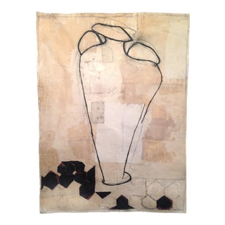 Amphora Vase Mixed Media Painting Collage With Beeswax For Sale
