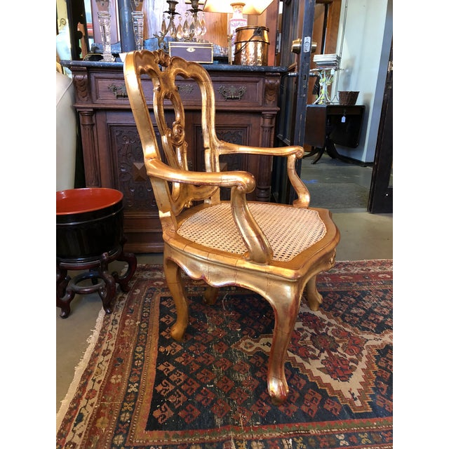 Late 19th Century Antique Hand Carved Venetian Arm Chair For Sale - Image 4 of 11
