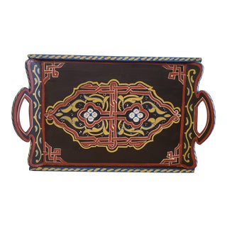 Hand Painted Moroccan Wooden Serving / Decoration Tray For Sale