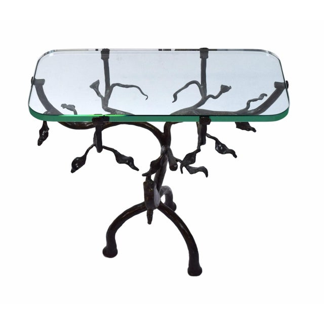 Mid-Century Modern Vintage Twig and Owl Bronze Patinated Iron Table For Sale - Image 3 of 9
