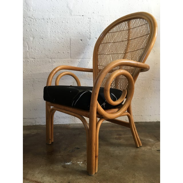 Wood Vintage Mid Century Modern Bamboo Rattan Accent Chair. For Sale - Image 7 of 8