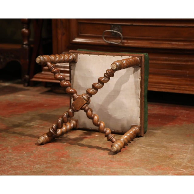 Wood Set of Four 19th Century French Louis XIII Carved Barley Twist Leather Stools For Sale - Image 7 of 8