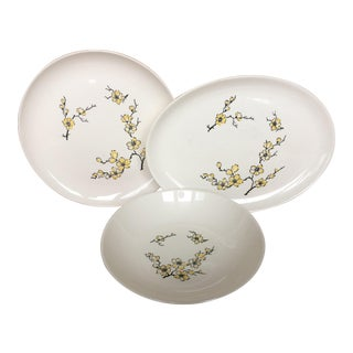 Stetson Yellow Dogwood Ceramic Serving Dishes- Set of 3 For Sale