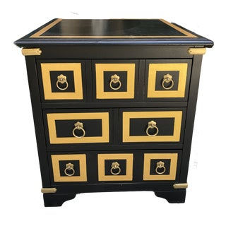 1960s Neoclassical Black and Gold Small Chest or End Table For Sale
