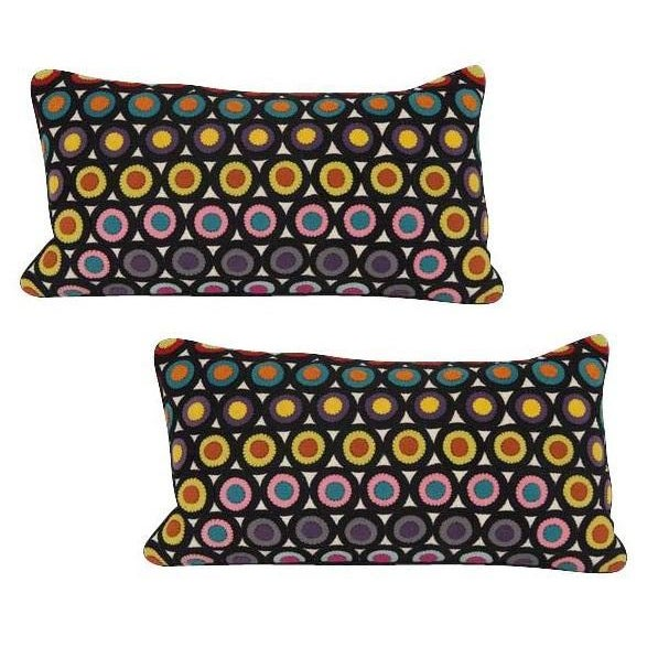 Pair of pillows of vintage Penny Rug wool. Two available at $635 EACH.