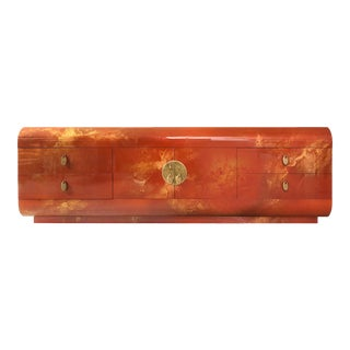 1970s Mastercraft Lacquered Chinoiserie Credenza With Brass Details For Sale