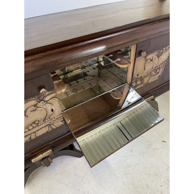Wood French Art Deco Bar Cabinet With Mirrored Interior For Sale - Image 7 of 13