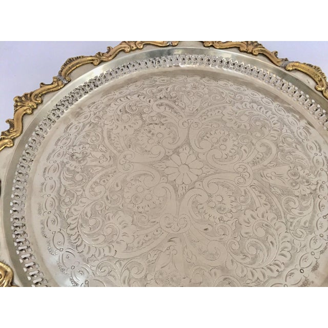 Islamic Moroccan Handcrafted Silver Round Tray With Brass Overlay Moorish Designs For Sale - Image 3 of 13