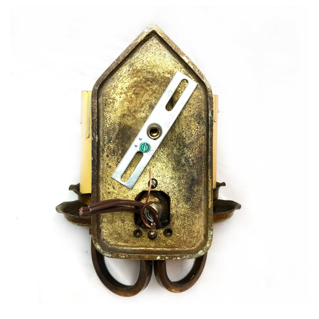 Arts & Crafts Antique Arts & Crafts Hammered Brass Double Light Wall Sconce For Sale - Image 3 of 12