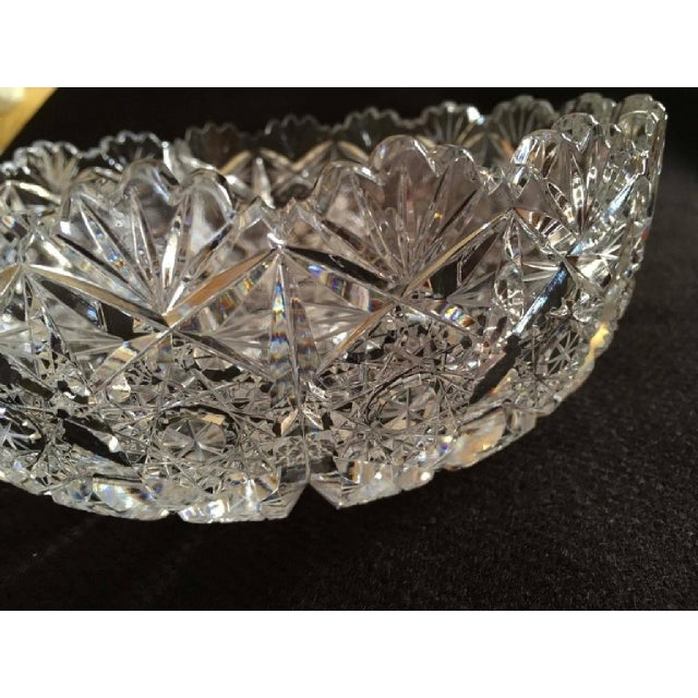 This cut and polished crystal bowl was made circa 1970 with one of the Bohemian glass works. The cutting is especially...