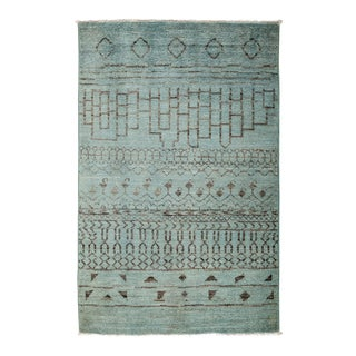 "Moroccan Blue Hand-Knotted Rug - 4'1"" X 6'3"""