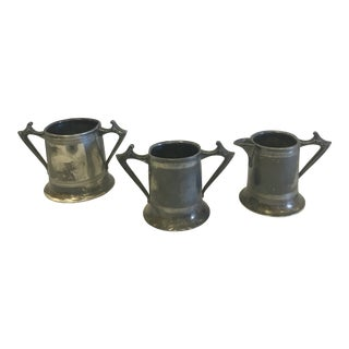 Sheffield Silver Plate Creamer & Sugars- a Set of 3 For Sale