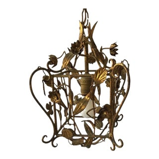 Small 1960s Gilt Iron Italian Floral Fixture For Sale
