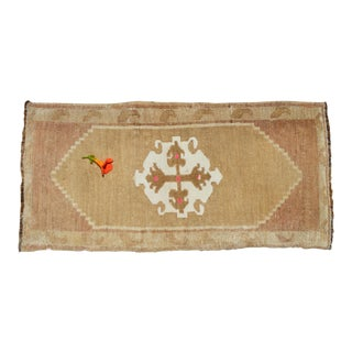 Small Oushak Rug Yastik Hand Knotted Undyed Petite Rug Mat - 19'' X 39'' For Sale