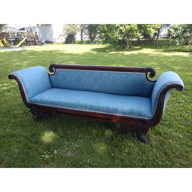 Antique Duncan Phyfe Style Victorian Blue Claw Foot Sofa For Sale - Image 13 of 13