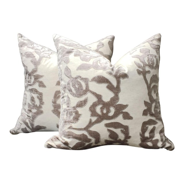 Contemporary Linen Pillows With Velvet - a Pair - Image 1 of 7