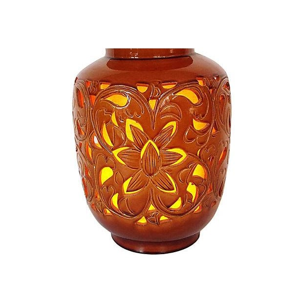 California Pottery Mid-Century Lattice-Cut Lamp For Sale In Milwaukee - Image 6 of 7