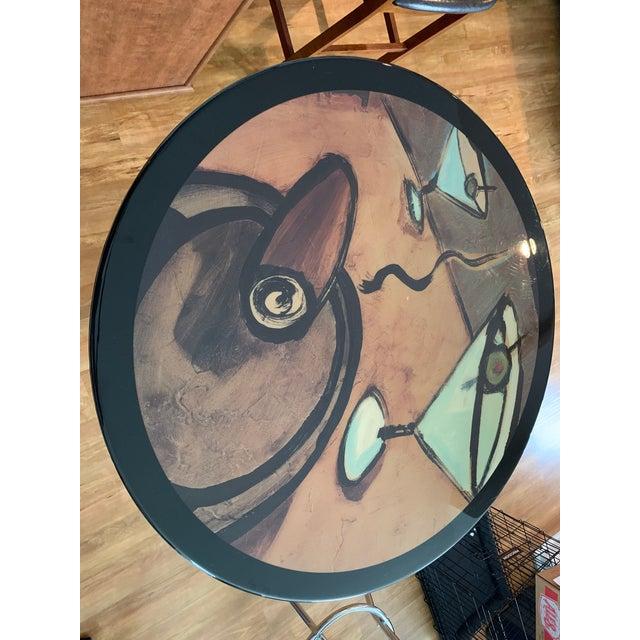 Metal Vintage Mid Century Modern Painted Metal Pedestal Cafe Table For Sale - Image 7 of 9