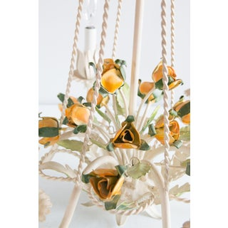 Vintage Mid-Century Italian Tole Yellow Roses Six Arm Chandelier Preview