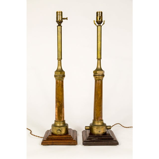 Copper & Brass Victorian Fire Hose Nozzle Lamps (Pair) For Sale In San Francisco - Image 6 of 13